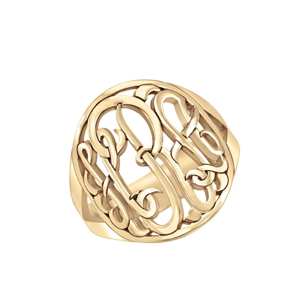 rose gold halo monogram ring