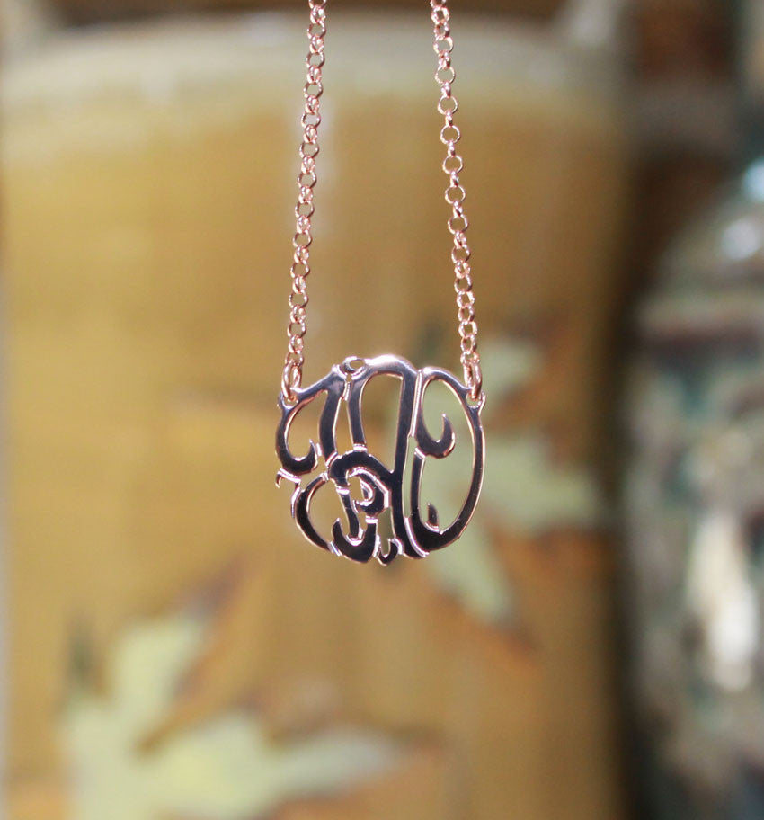 rose gold vermeil mini monogram necklace - 3/4 inch