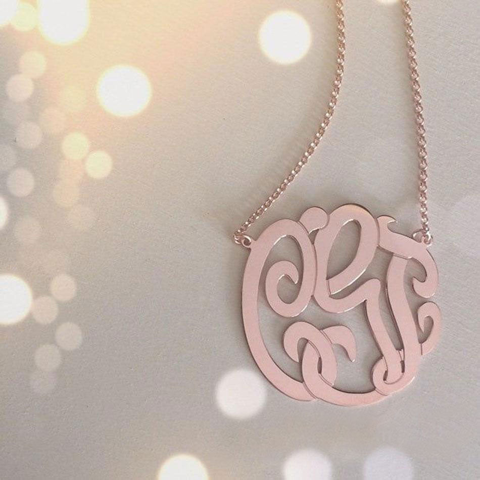 Medium Rose Gold Monogram Necklace 4