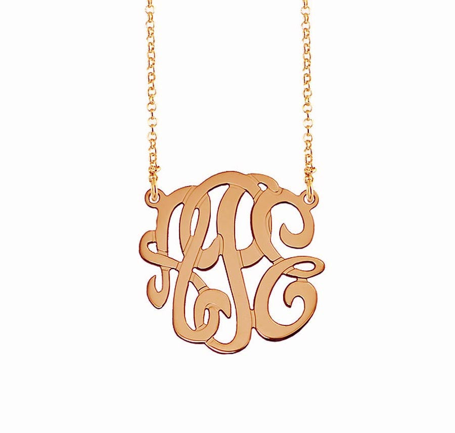 Rose Gold Petite Monogram Split Chain Necklace 2