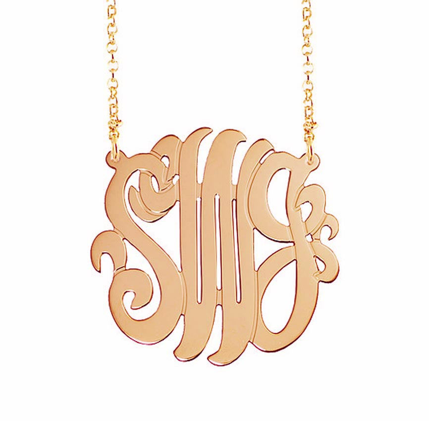 Rose Gold Monogram Necklace 3