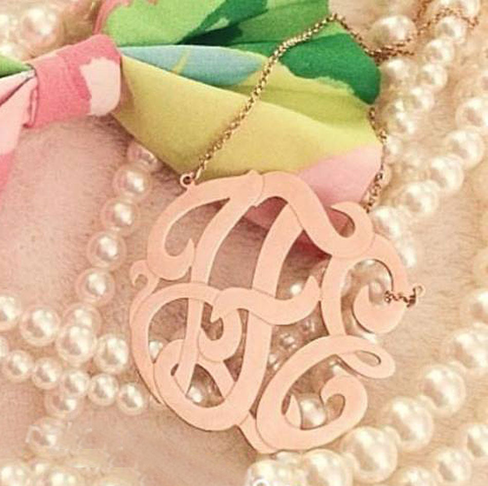 Medium Rose Gold Monogram Necklace 5