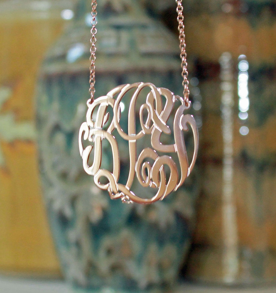 rose gold big slim monogram necklace