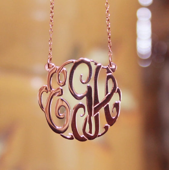 rose gold plated fancy script monogram necklace