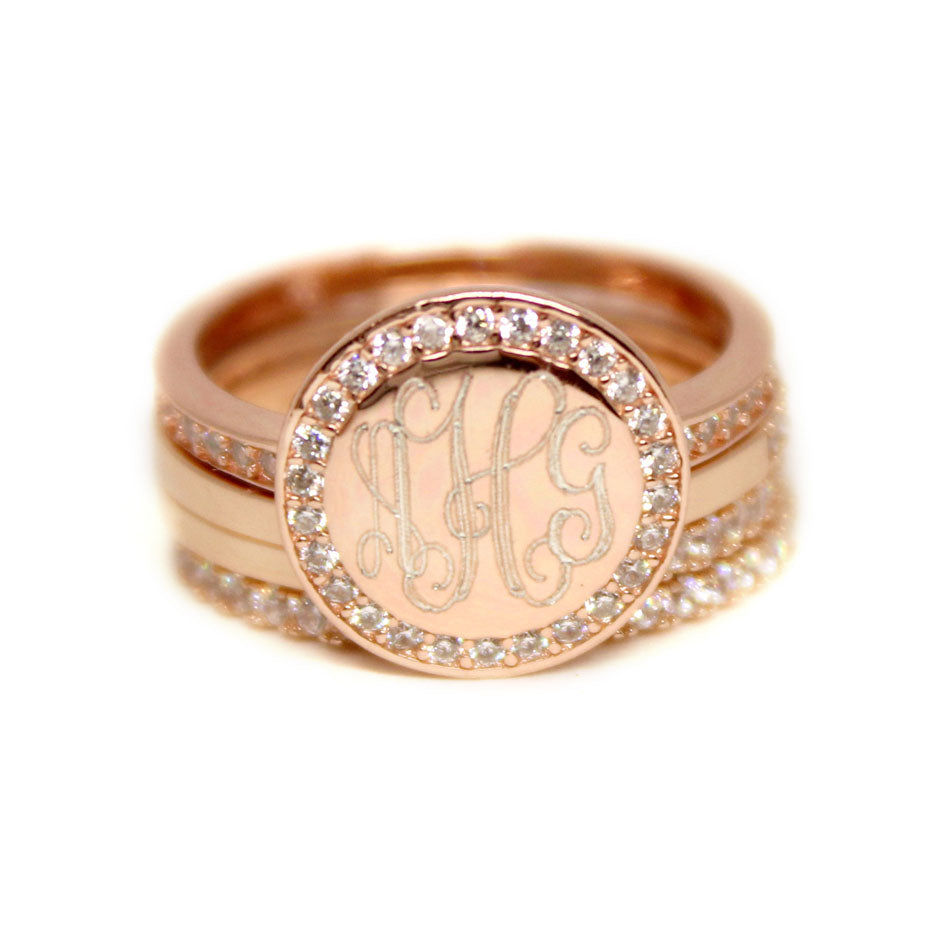 rose gold CZ Rimmed Monogram Stacking Ring