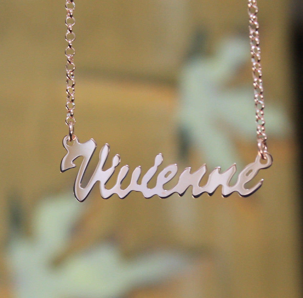 Rose Gold Vermeil Nameplate necklace