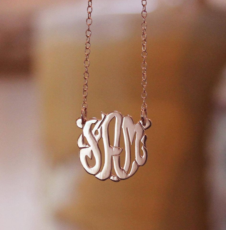 Mini 24K Rose Gold Plated Monogram Necklace~Split Chain