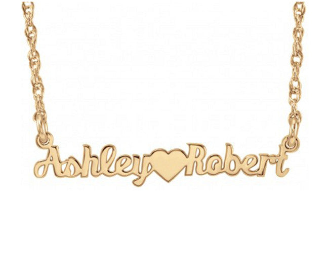 mini two name necklace-rose gold