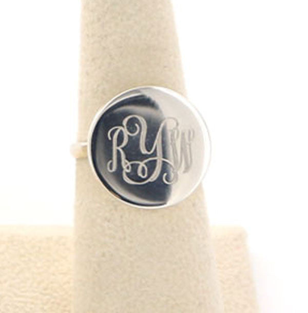 Monogrammed Sterling Silver Round Ring 9
