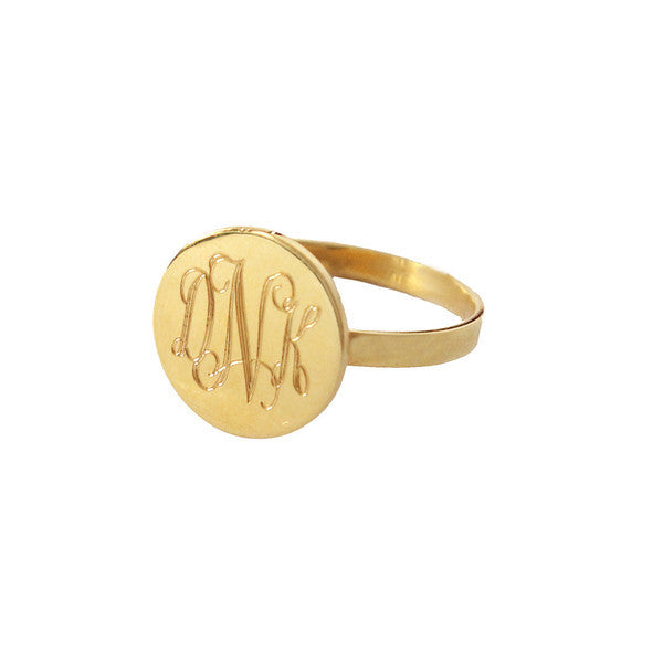 Oxford Round Gold Monogram Ring