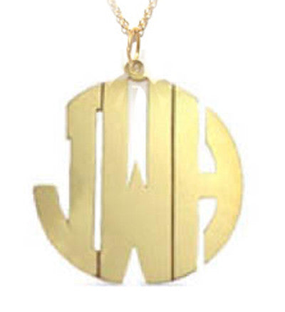 Cutout Monogram Necklace Block Font