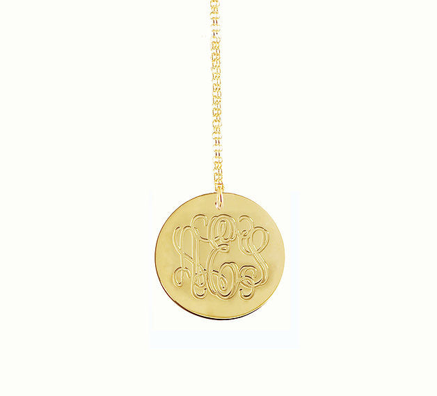 Engraved Gold Disc Necklace Kardashians Alternate 2