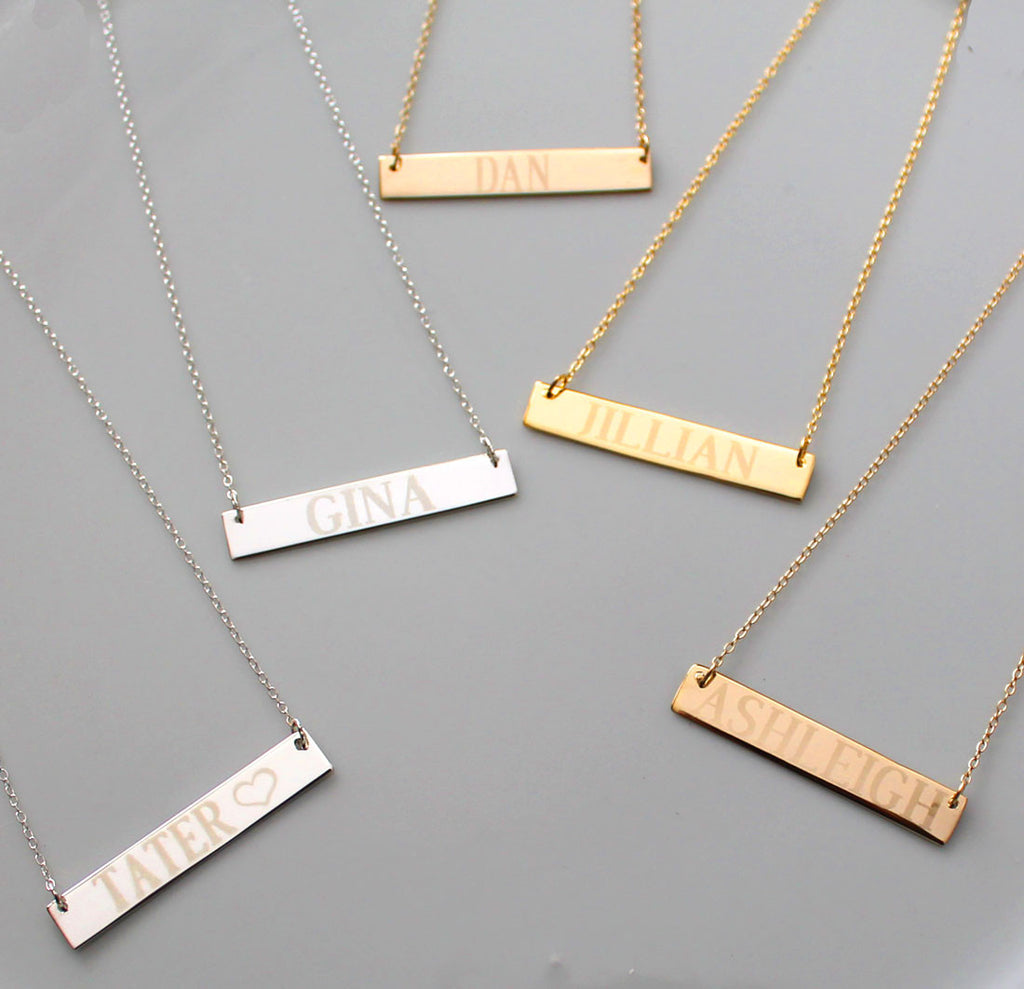Engraved Gold Bar Necklace Clare Of The Bachelor Reese Witherspoon Alternate 2