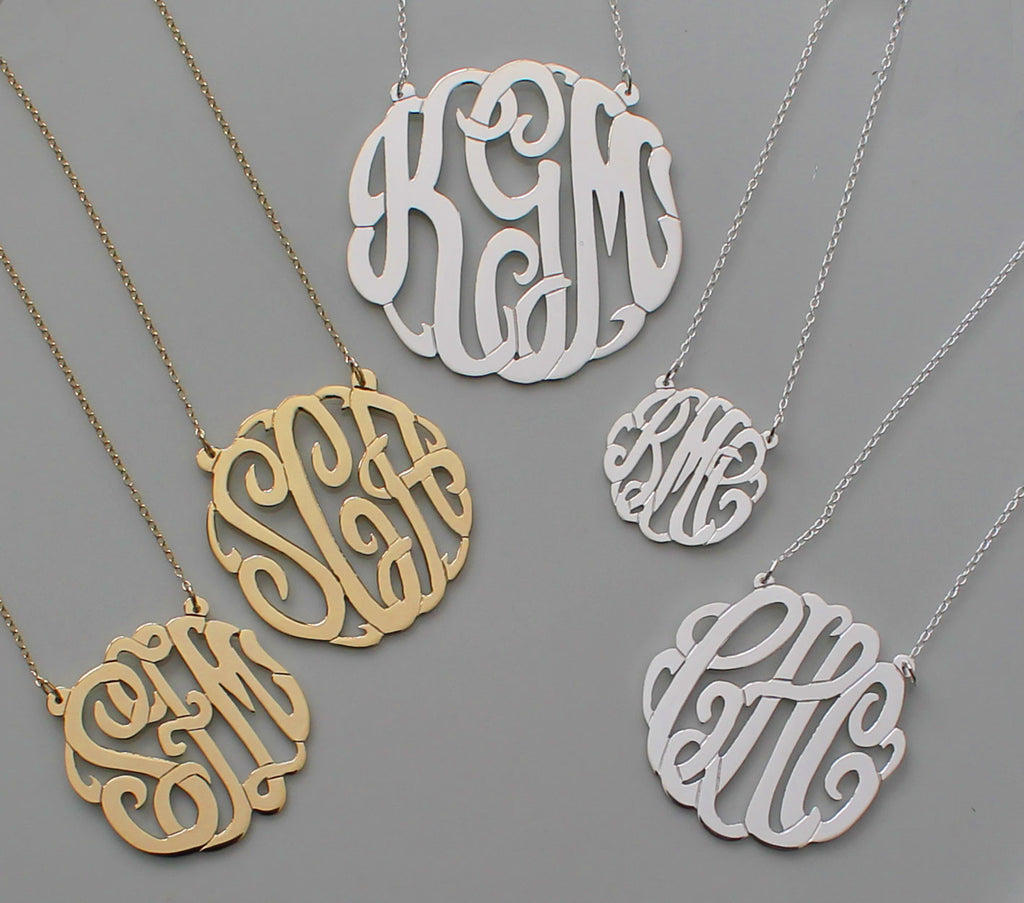 Sterling Silver Fancy Script Monogram Necklace Andi Dorfman Alternate 3