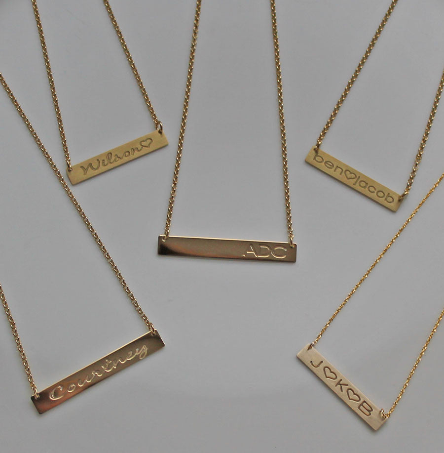 Personalized Gold Bar Necklaces