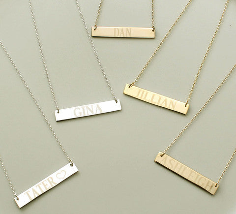 engraved bar necklaces