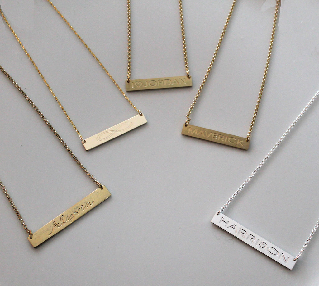 Engraved Horizontal Gold Bar Necklace