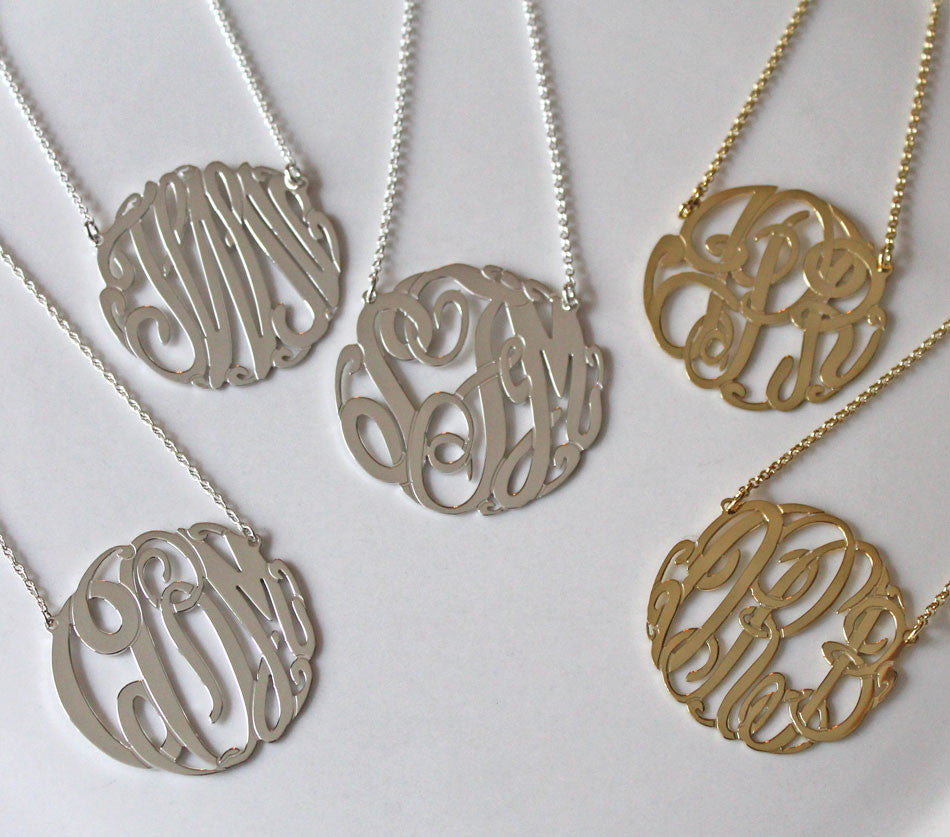 Big Slim Sterling Silver Monogram Necklace Alternate 2
