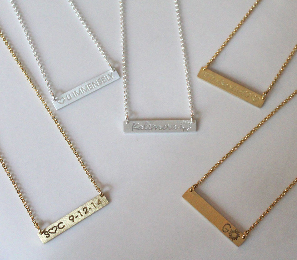 Gold Bar Necklace Personalized