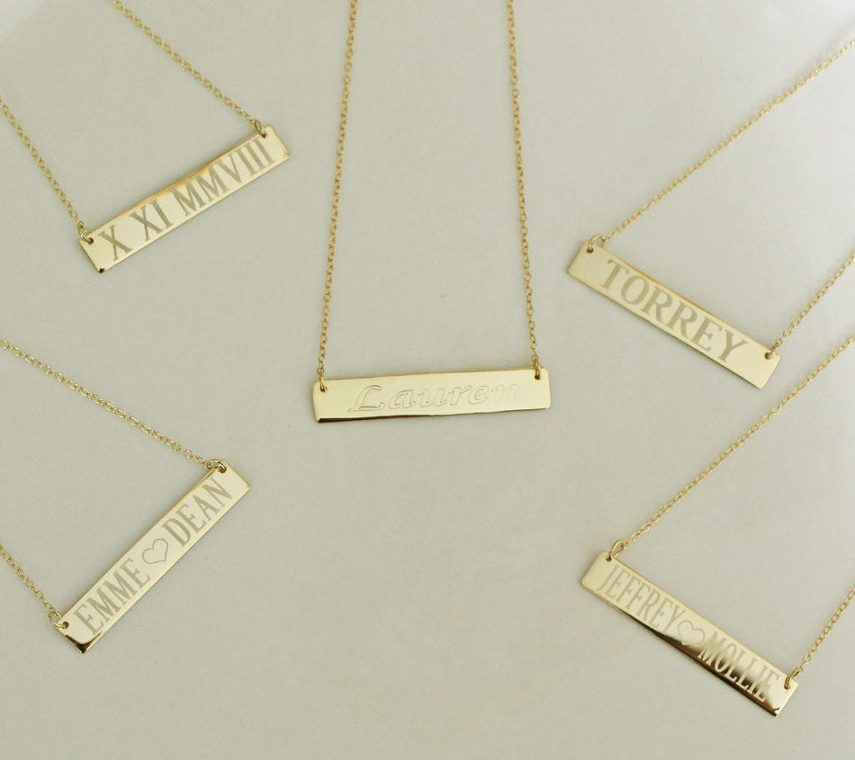 Engraved Gold Bar Necklace Clare Of The Bachelor Reese Witherspoon Alternate 9