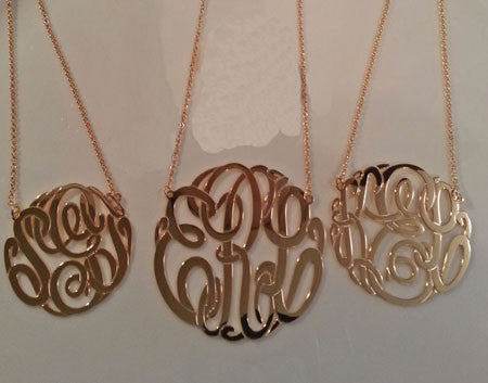 Big Slim Sterling Silver Monogram Necklace Alternate 3