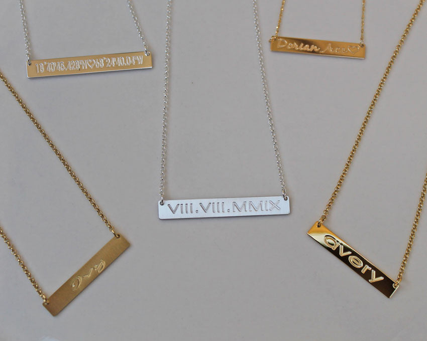 Horizontal Gold Bar Necklace