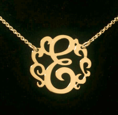 Swirly Initial Necklace Gold small