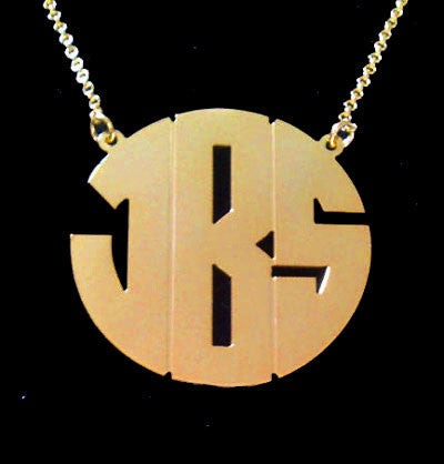Gold Monogram Block Font Necklace