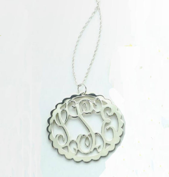 Sterling Silver Scallop Filigree Monogram Necklace