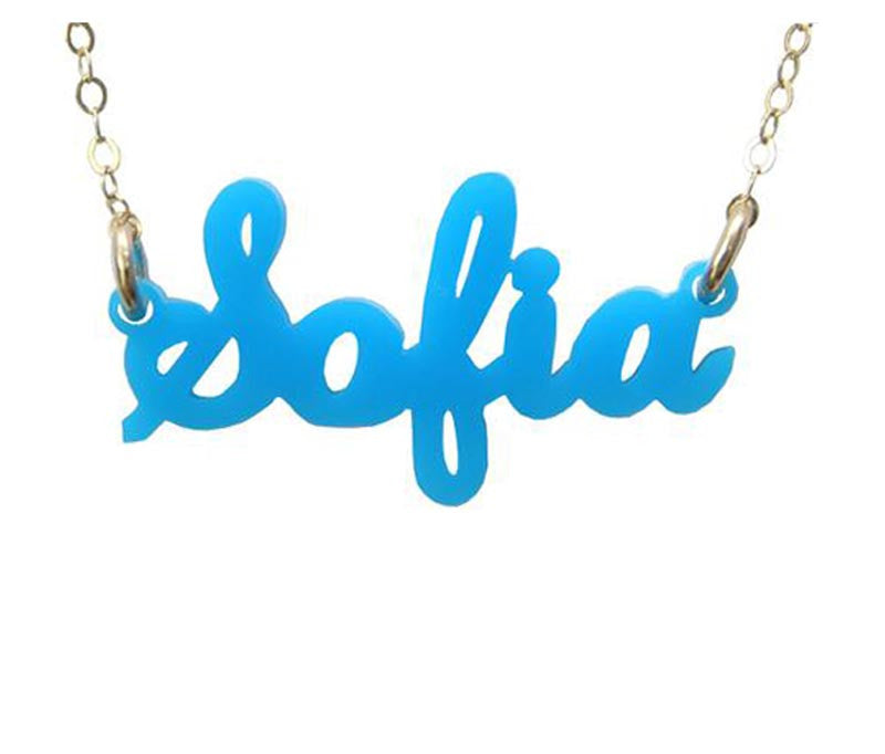 9542129ea96 Script Acrylic Name Necklace - Moon and Lola - Be Monogrammed