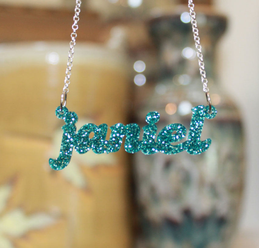 acrylic name necklace-all lowercase-teal glitter