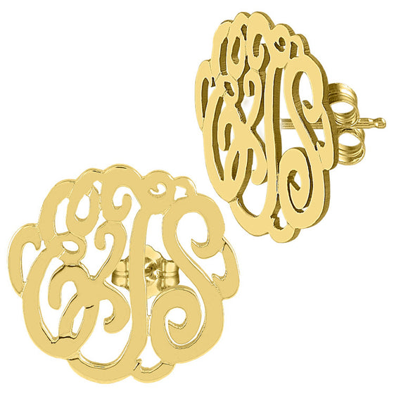 gold monogram script earrings