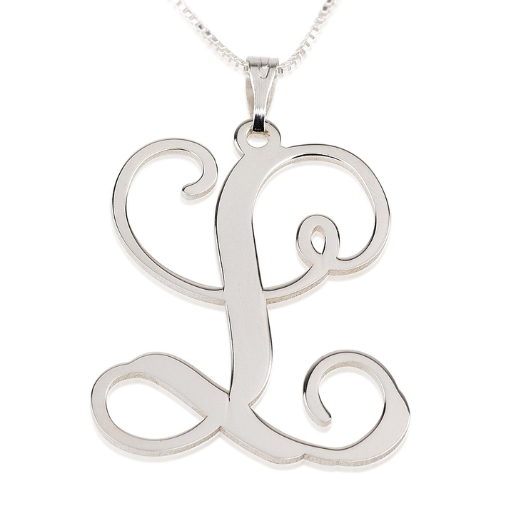 Large Sterling Silver Initial Necklace