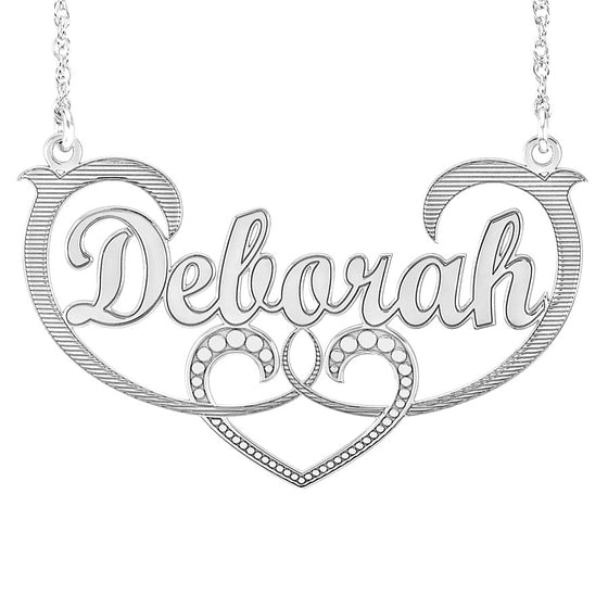 Scrolling Heart Nameplate Necklace