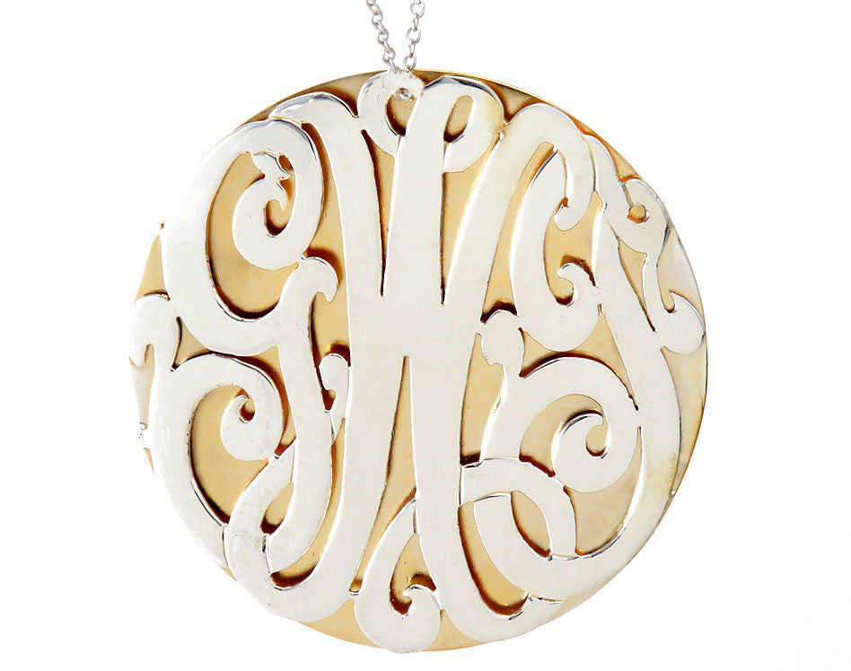 Silver And Gold Monogram Disc Necklace