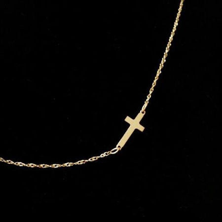 gold vermeil sideways cross on rope chain