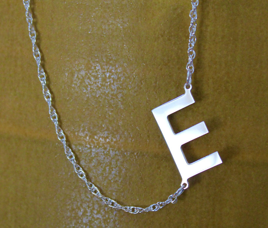 Silver Sideways E Initial Necklace