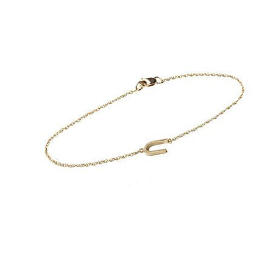 14K Gold Block Sideways Initial Bracelet - One to Three Initials 3