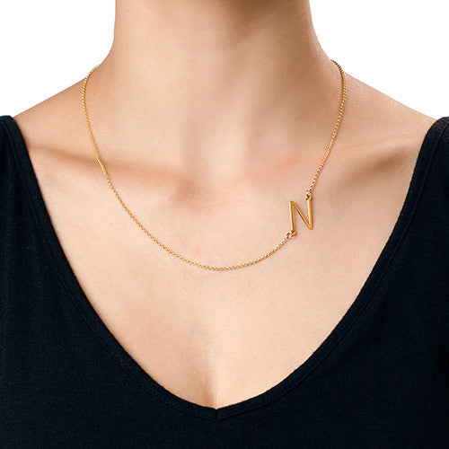 Large Gold Sideways Initial Necklace Be Monogrammed
