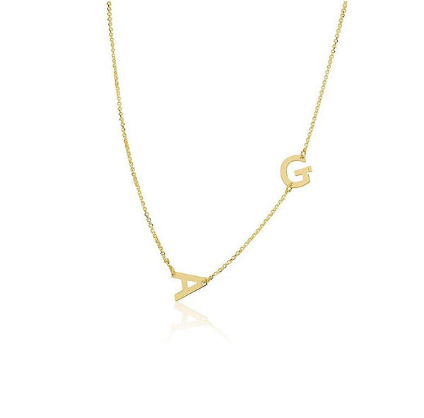 Two Letter Sideways Initial Necklace Be Monogrammed