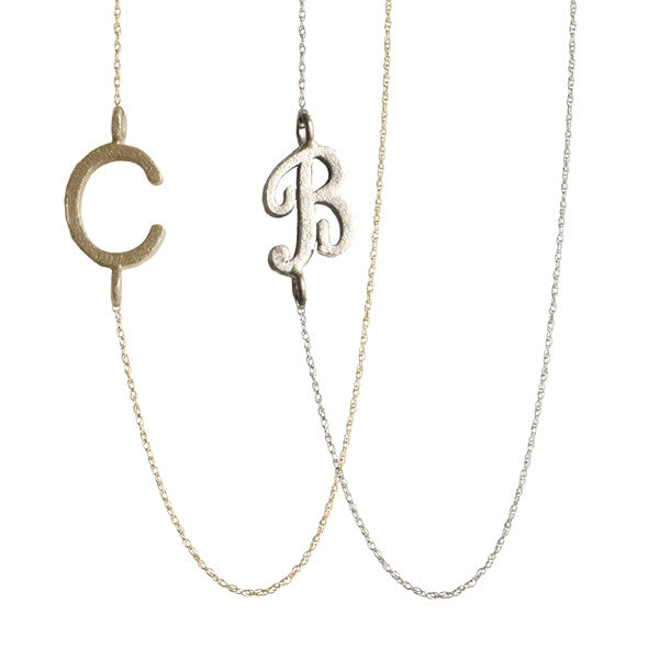 14K Gold Sideways Script Multi Initial Necklace 5