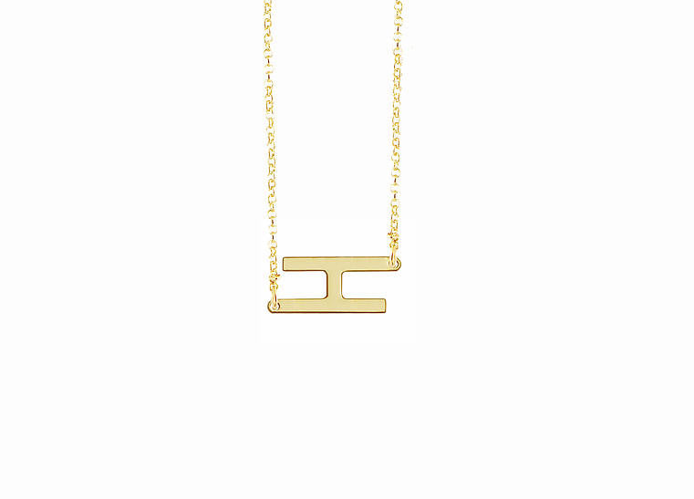 Gold Sideways Initial Necklace - Audrina Patridge