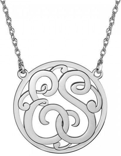 Classic Halo Two Initial Monogram Necklace silver