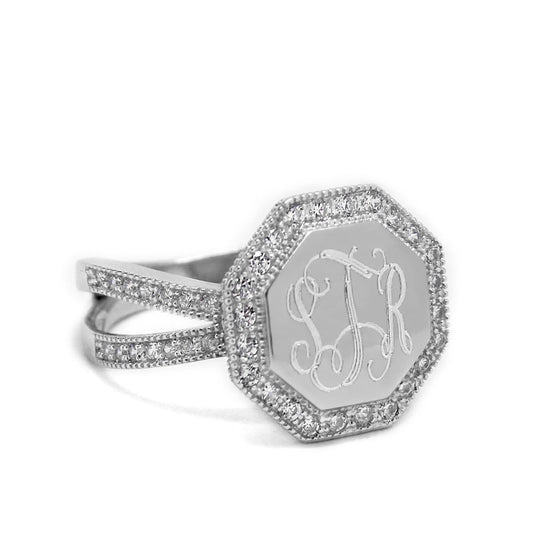 Sterling Silver Octagon CZ Monogram Ring - Split Band