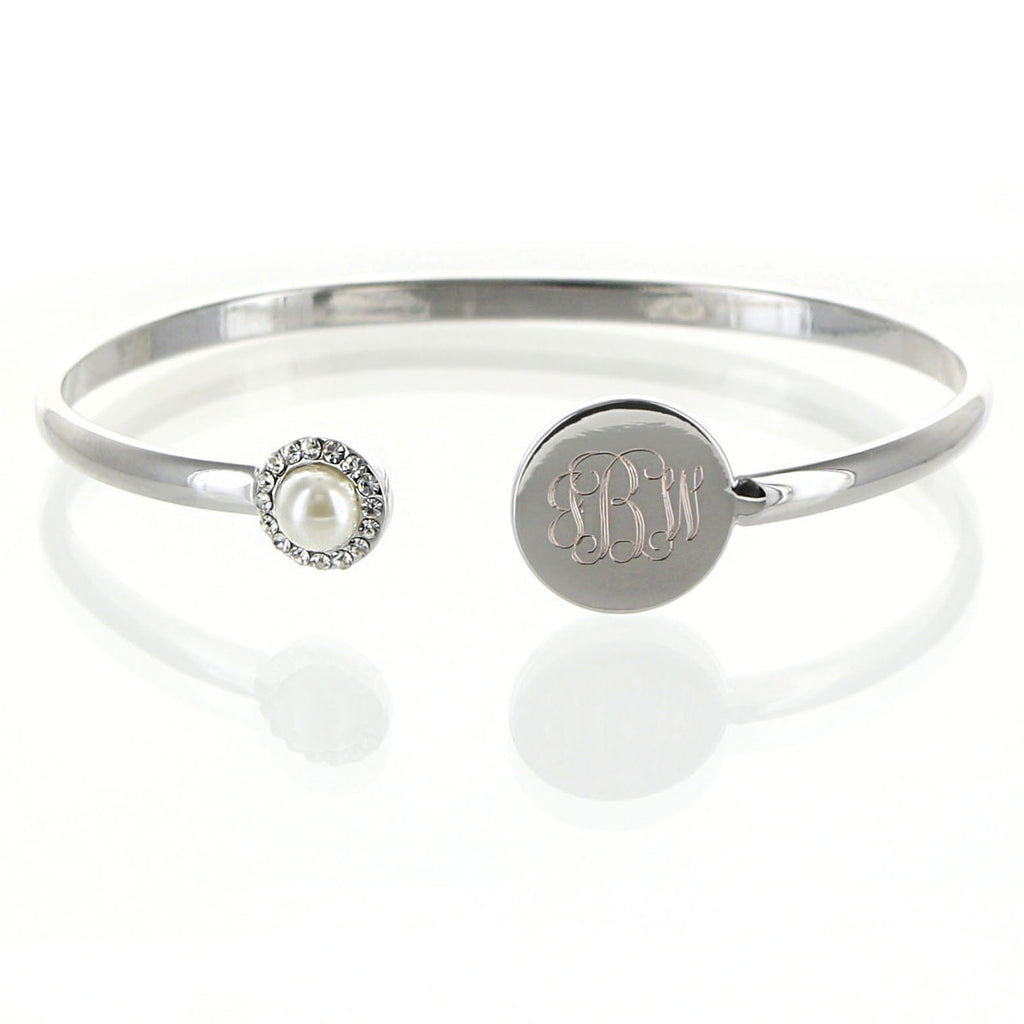 Silver Monogram Birthstone Bangle Bracelet