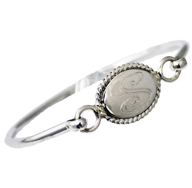 Monogram Sterling Silver Oval Rope Edge Bangle Bracelet