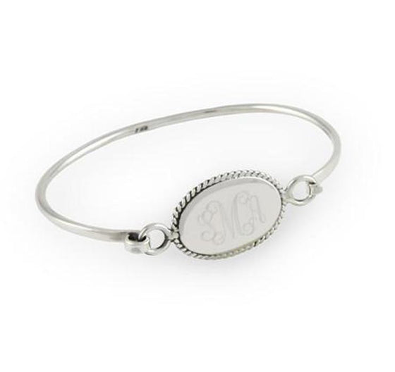Monogram Sterling Silver Oval Rope Edge Bangle Bracelet 2