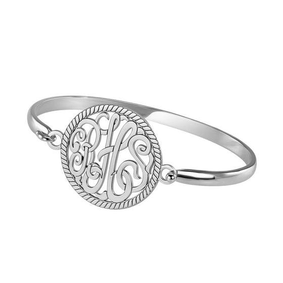 Rope Trim Round Monogram Bangle Bracelet