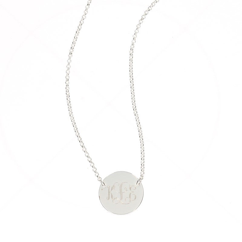 Silver Plated Contemporary Monogram Circle Necklace