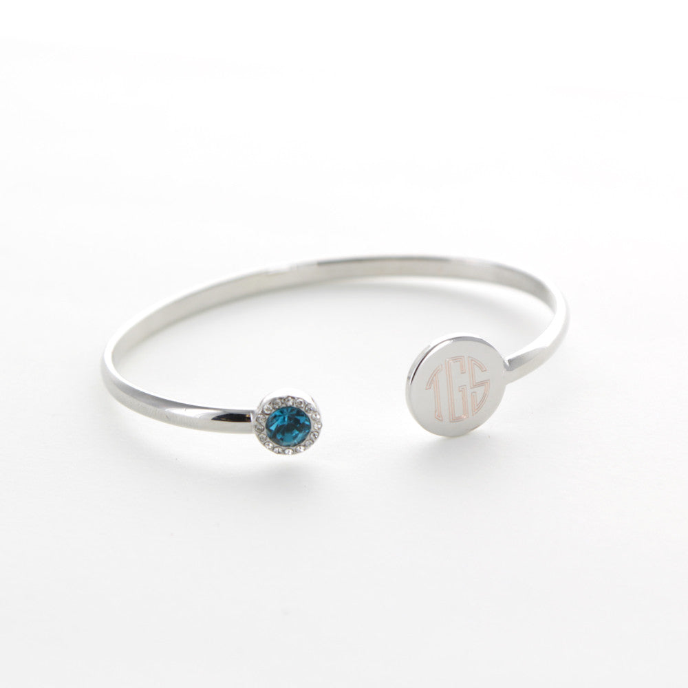 monogram silver bangle bracelet with birthstone